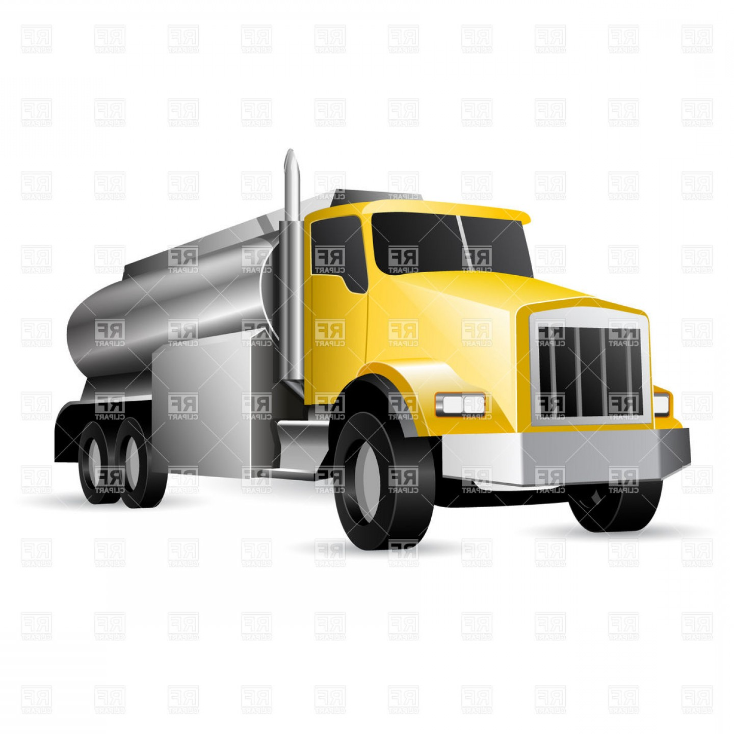Tank Trucks Vector Art: Heavy Vehicle Tank Truck With Fuel Vector Clipart