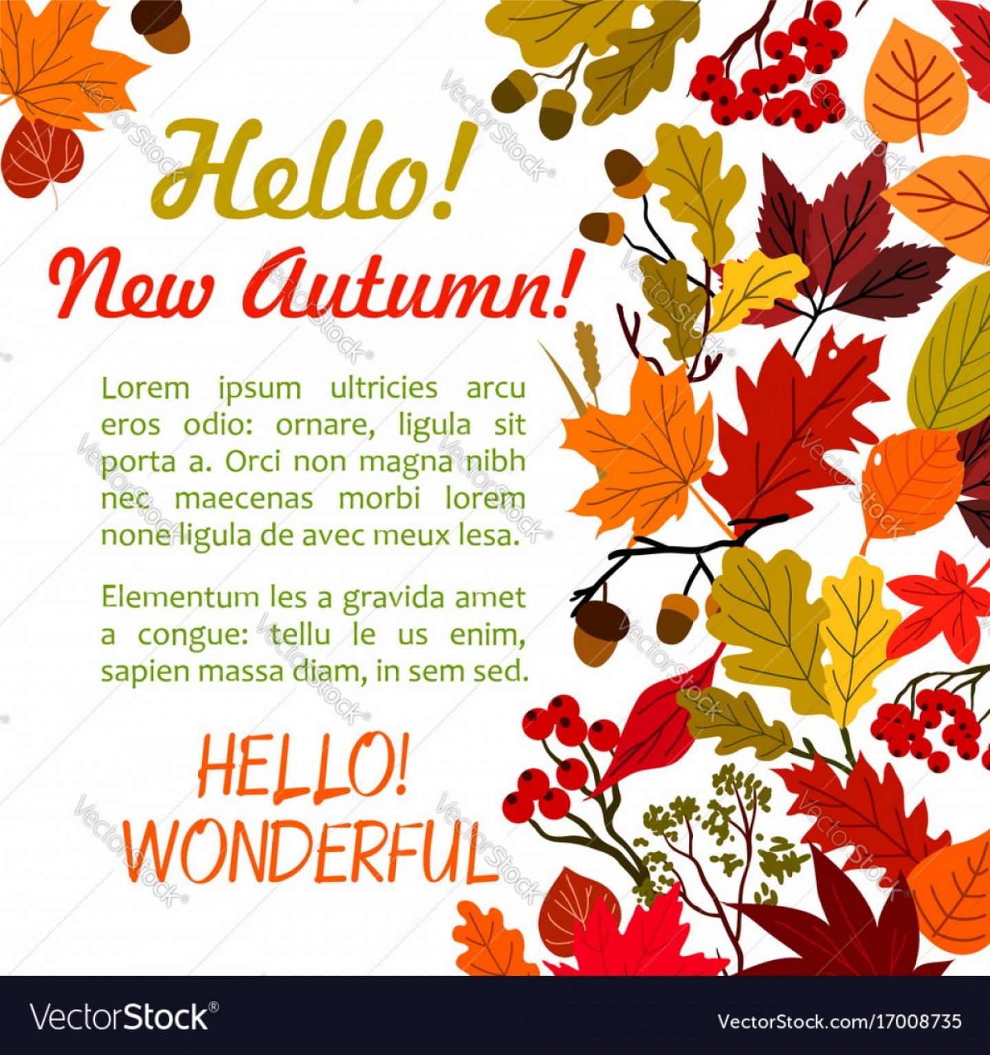 Thanksgiving Border Vector: Hello Autumn Poster Template With Fall Leaf Border Vector