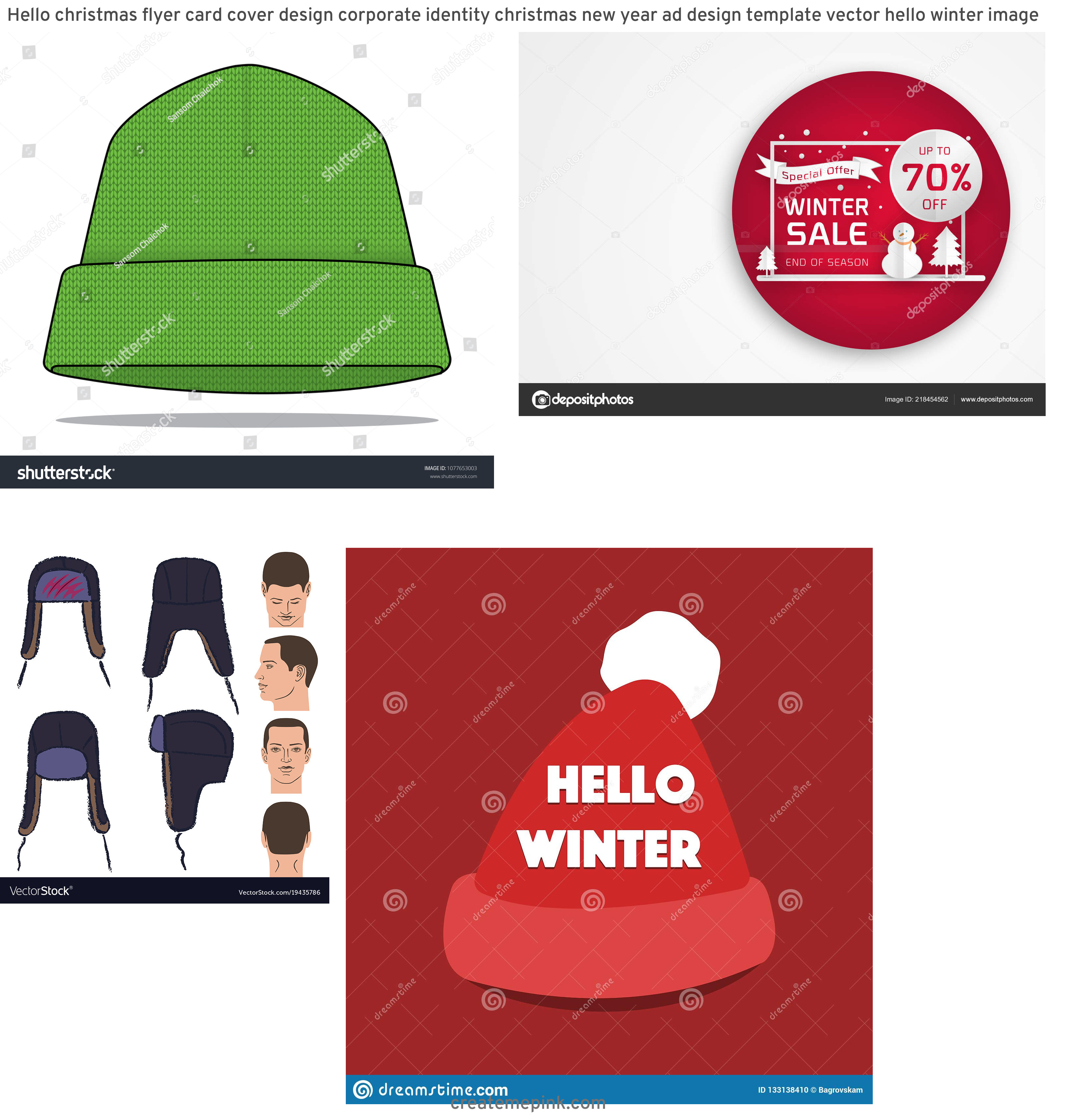 Winter Hat Vectors Templates: Hello Christmas Flyer Card Cover Design Corporate Identity Christmas New Year Ad Design Template Vector Hello Winter Image
