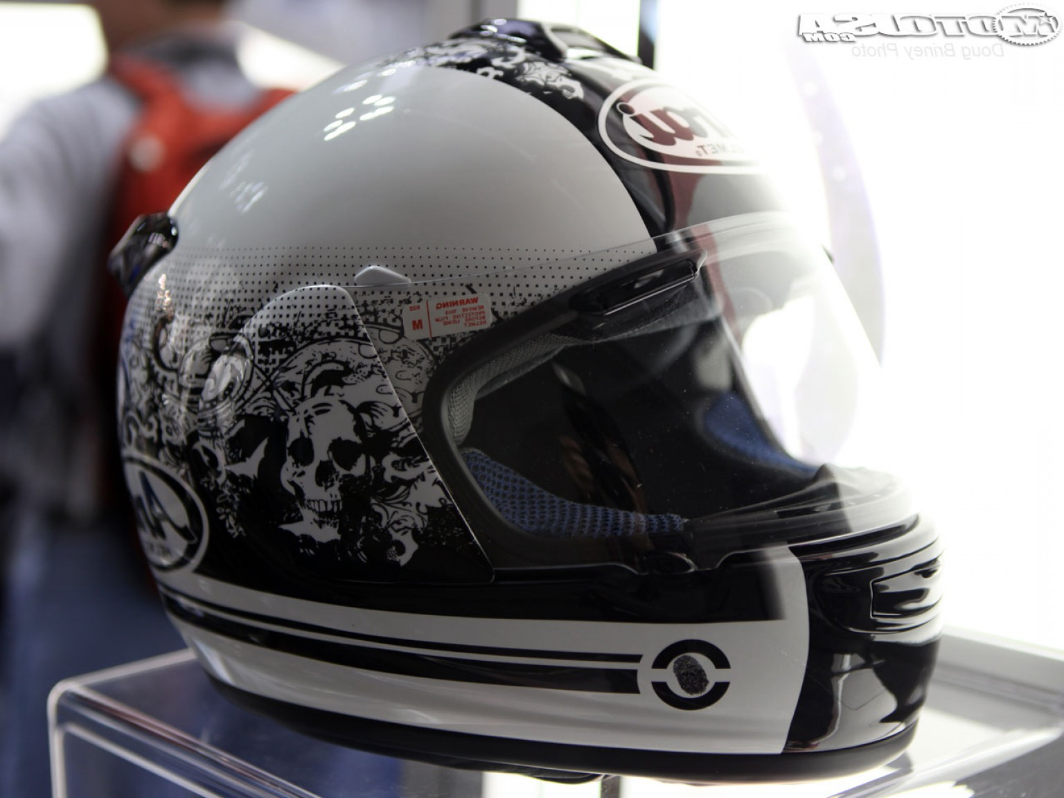 Arai Vector Green White 1: Helmet Peek From The Dealer Expo