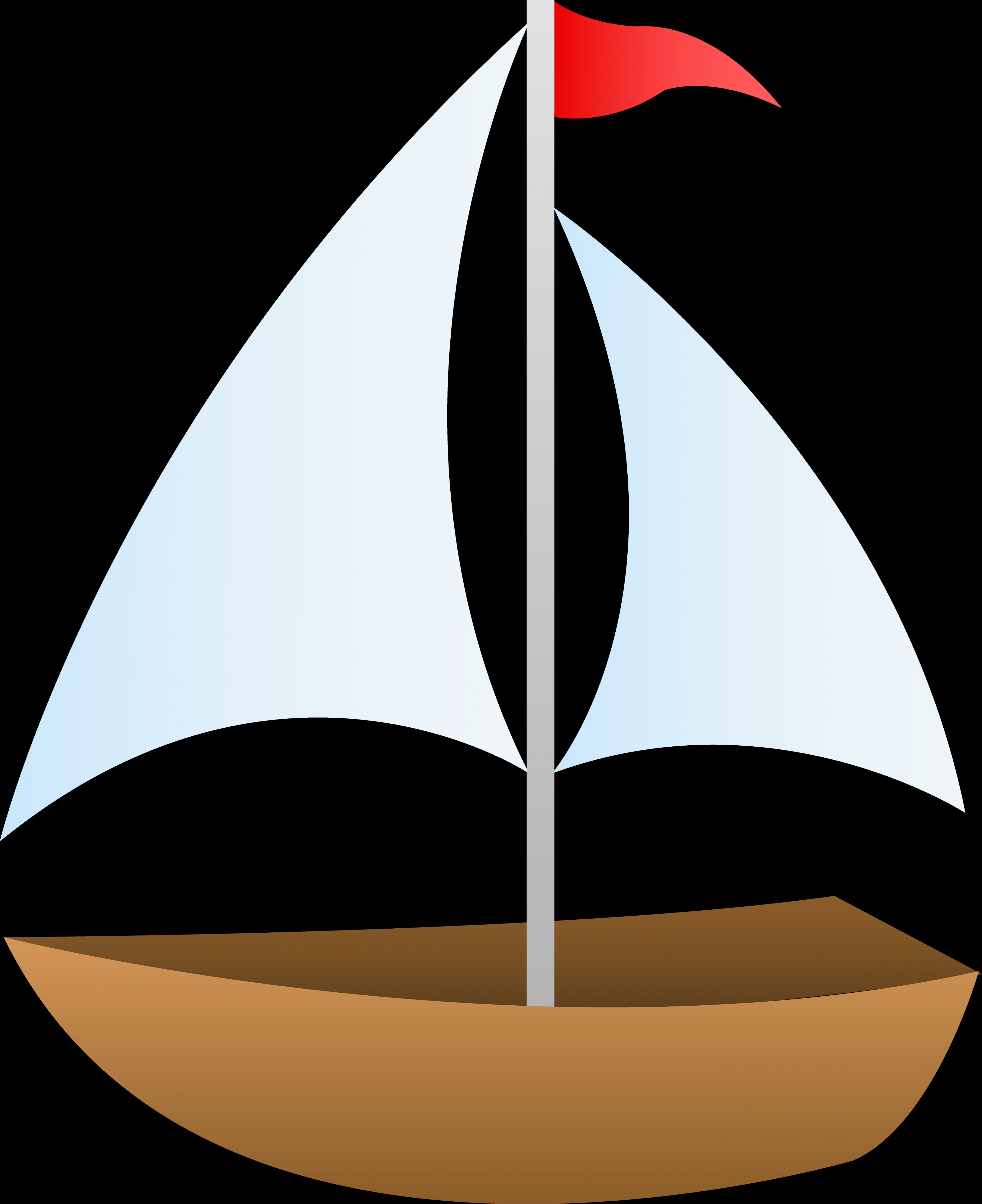 Vector Cartoon Free Clip Art: Helpful Cartoon Sailboat Pictures Little With Red Flag Free Clip Art