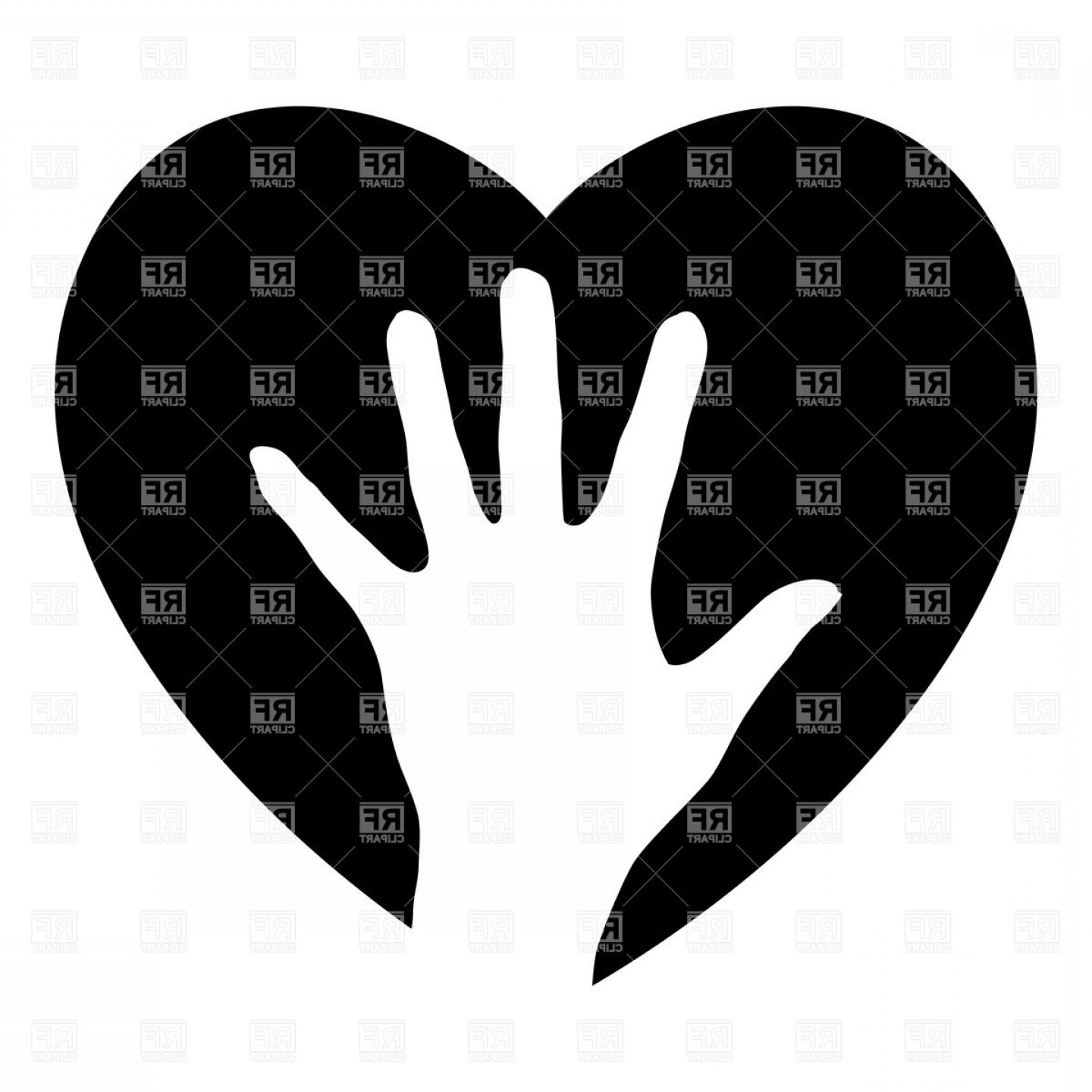 Heart In Hand Vector Clip Art: Helping Hand In The Heart Charity Symbol Vector Clipart