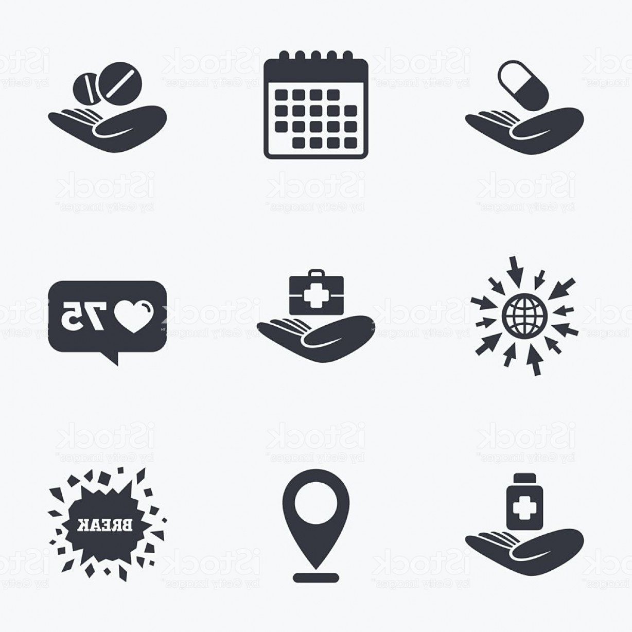 Vector Health Insurance: Helping Hands Icons Medical Health Insurance Gm