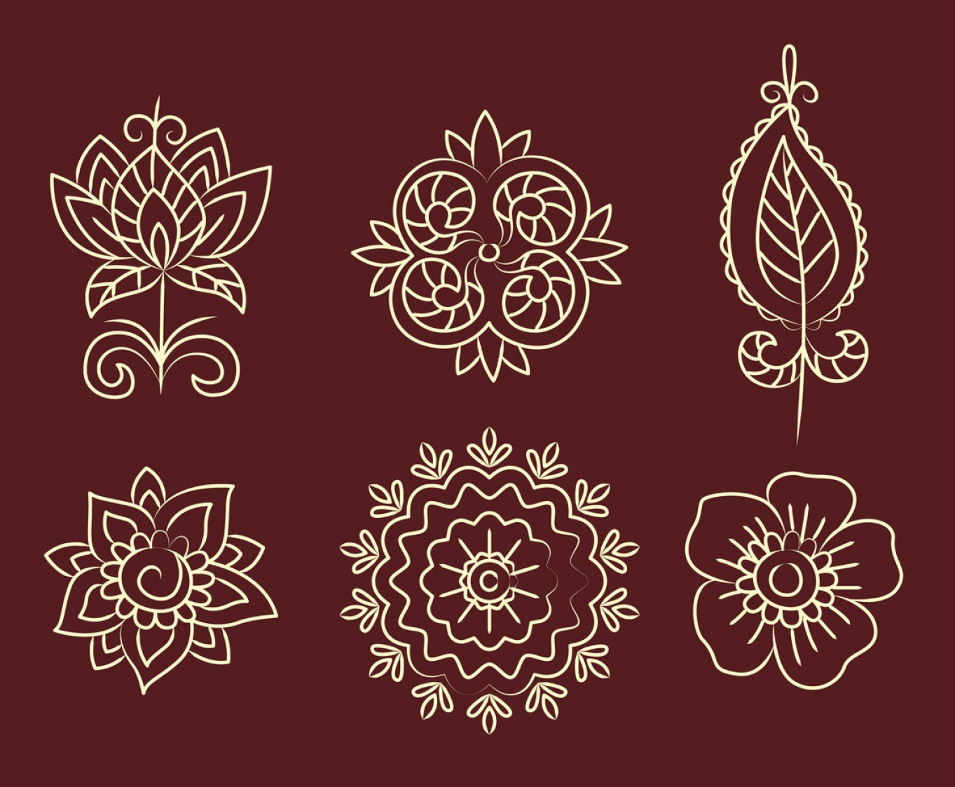 Vector Art Henna: Henna Flower Ornament Vector Set
