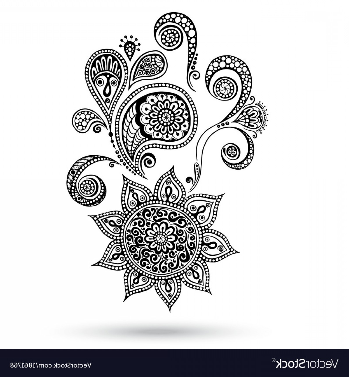 Paisley Swirl Flower Vector: Henna Flowers And Paisley Mehndi Tattoo Doodles Vector