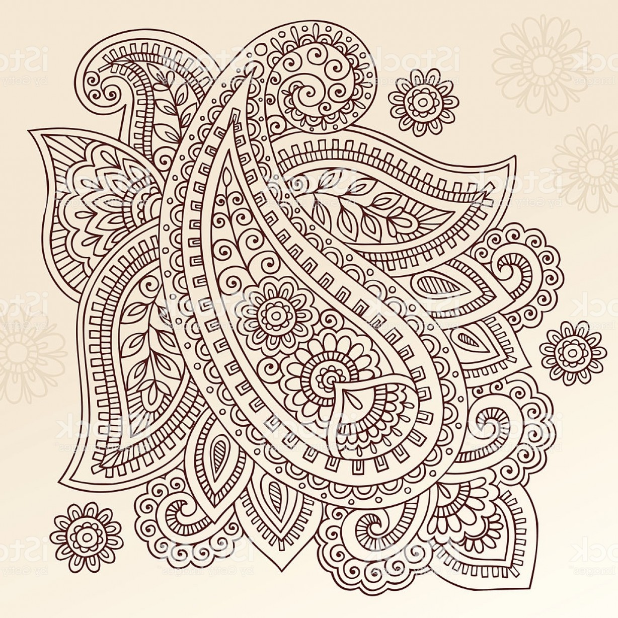 Vector Art Henna: Henna Mehndi Tattoo Paisley Floral Doodle Vector Elements Gm