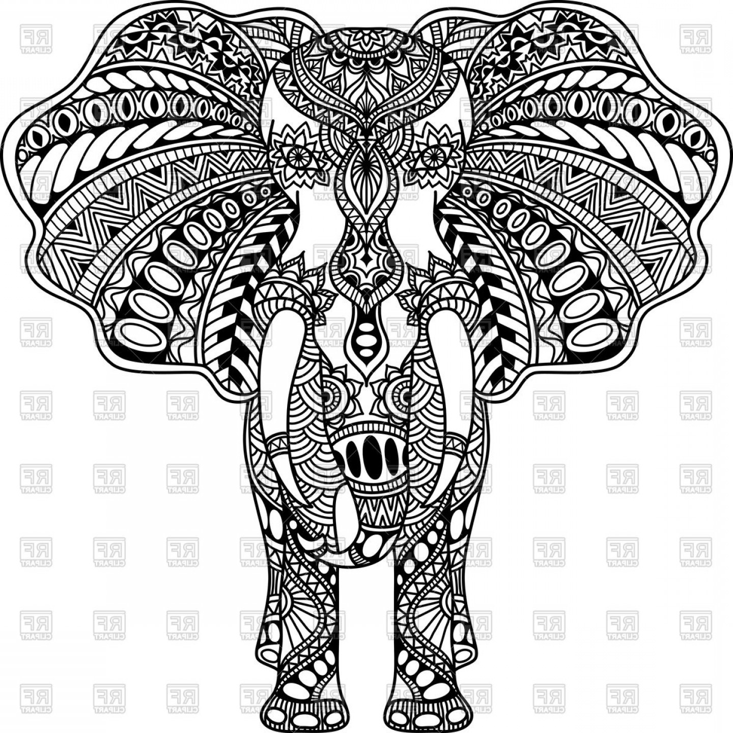 Vector Art Henna: Henna Mehndi Tattoo Style Indian Elephant Vector Clipart