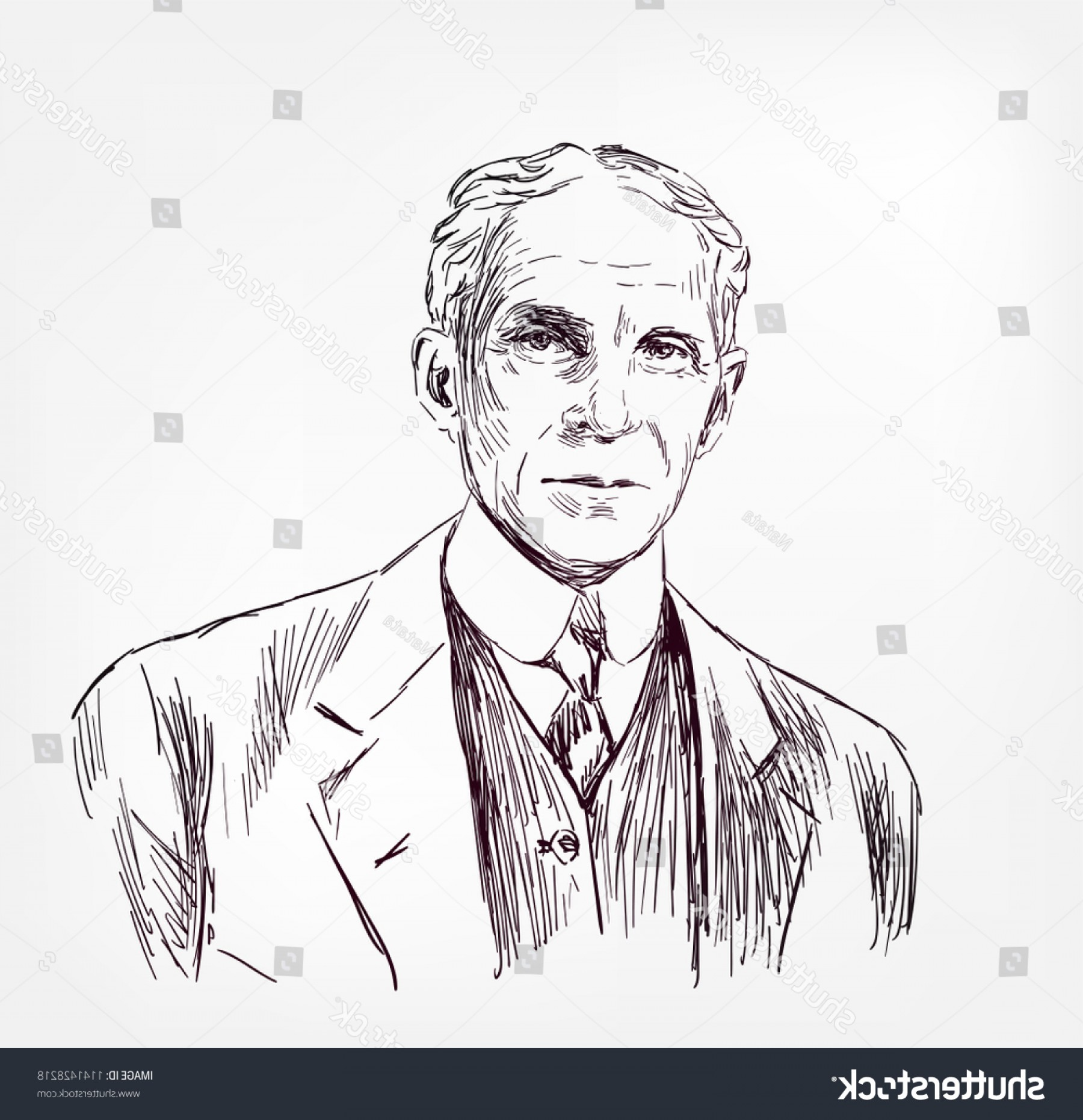 Ford Vector Art: Henry Ford Vector Sketch Illustration Portrait