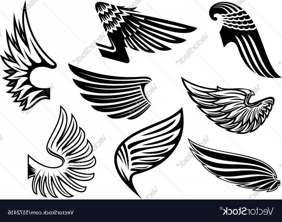 Vector Hi Res Black And White Wing: Heraldic Angel Black And White Wings Vector