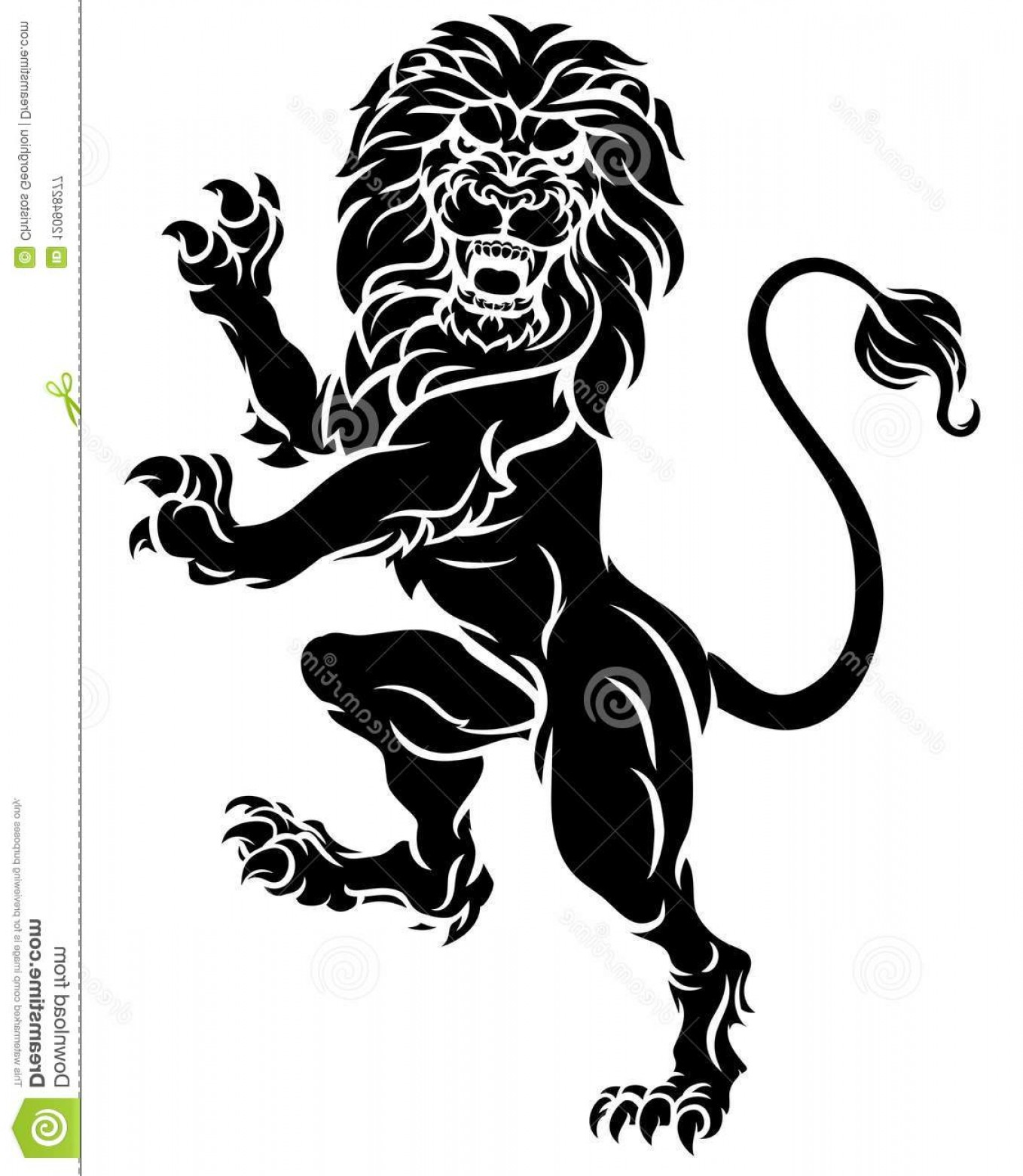 Crest And Coat Of Arms Vector Silhouette: Heraldic Lion Standing Rampant Crest Coat Arms Lion Rampant Standing Hind Legs Heraldic Crest Coat Arms Image