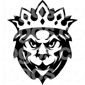 Lion Crown Vector Art: Head Lion With Crown Gold Logo Vector