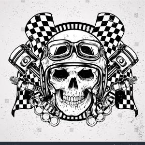 Art With Skulls Vector Drag Racing Pics: Head Skull Wearing Helmet Cafe Racer