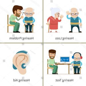 Vector Navigation Problems: Hearing Loss Set Vector Illustrations Cartoon