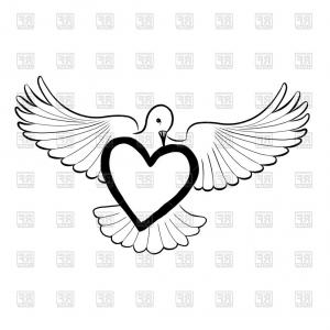 Dove Vector Caligraphy Art: A Red Heart Decorated With Flying White Doves Vector