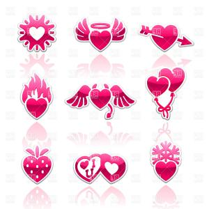 Vector Clip Art Collections: Collection Of Kisses Vector Clipart