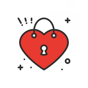 Heart Lock Vector: Stock Illustration Heart Shaped Padlock And Key
