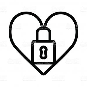 Heart Lock Vector: Stock Illustration Lock Icon Love Design Stylized Black Vintage White Image