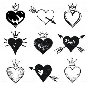 Crown Vector Drawing Valintines Day: Heart Set Hand Drawn Doodle Sketch Style Handdrawn Illustrations By Brush Pen Ink Gm