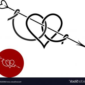 Love With Arrows Vector: Heart With Arrow Tattoo Style Linear Logo Vector