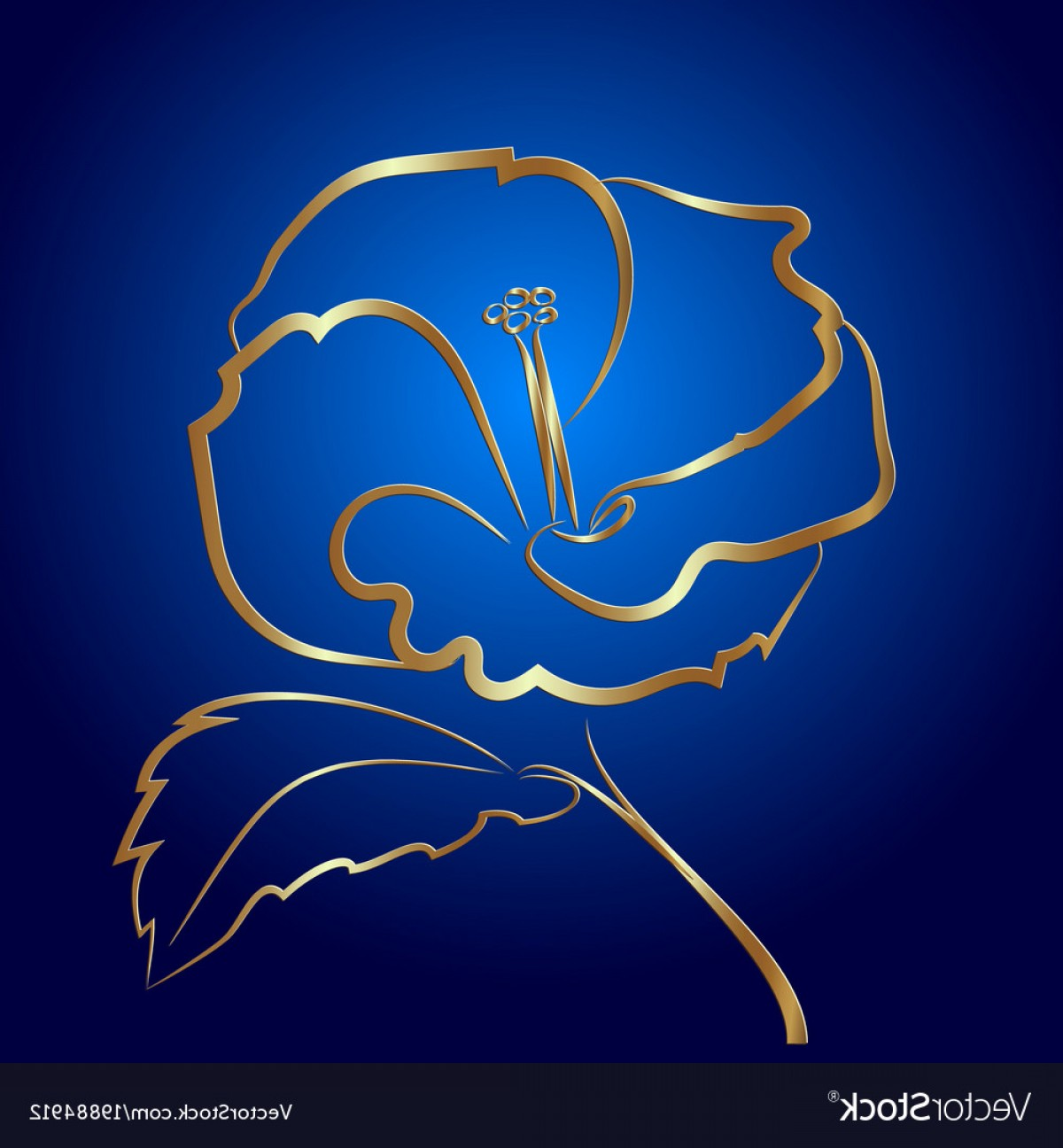 Gold And Blue Flower Vector: Hibiscus Flower Sketch Gold On Blue Vector