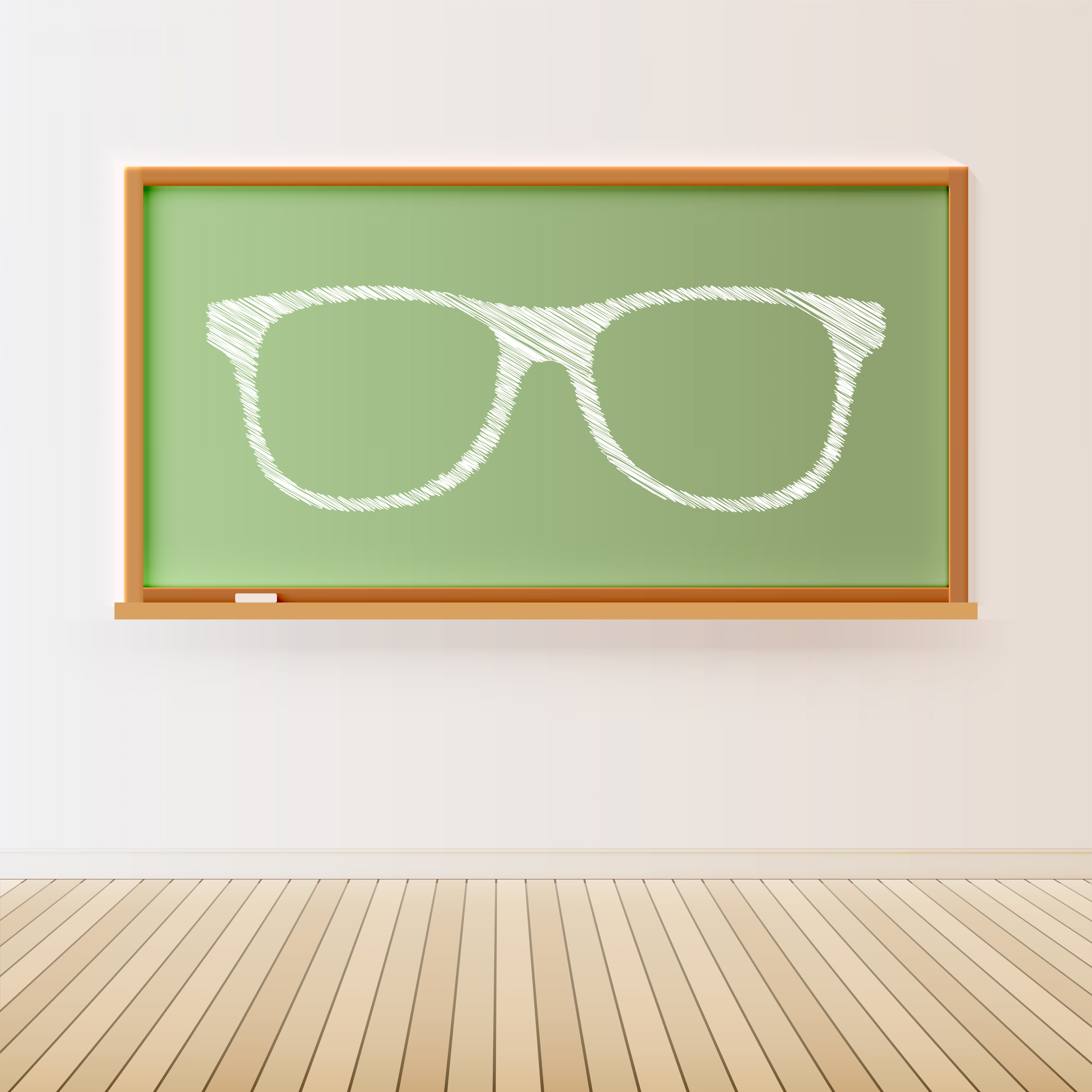 Vector Black Wood Floor: High Detailed Black Chalkboard With Wooden Floor And A Drawn Eyeglasses Vector Illustration