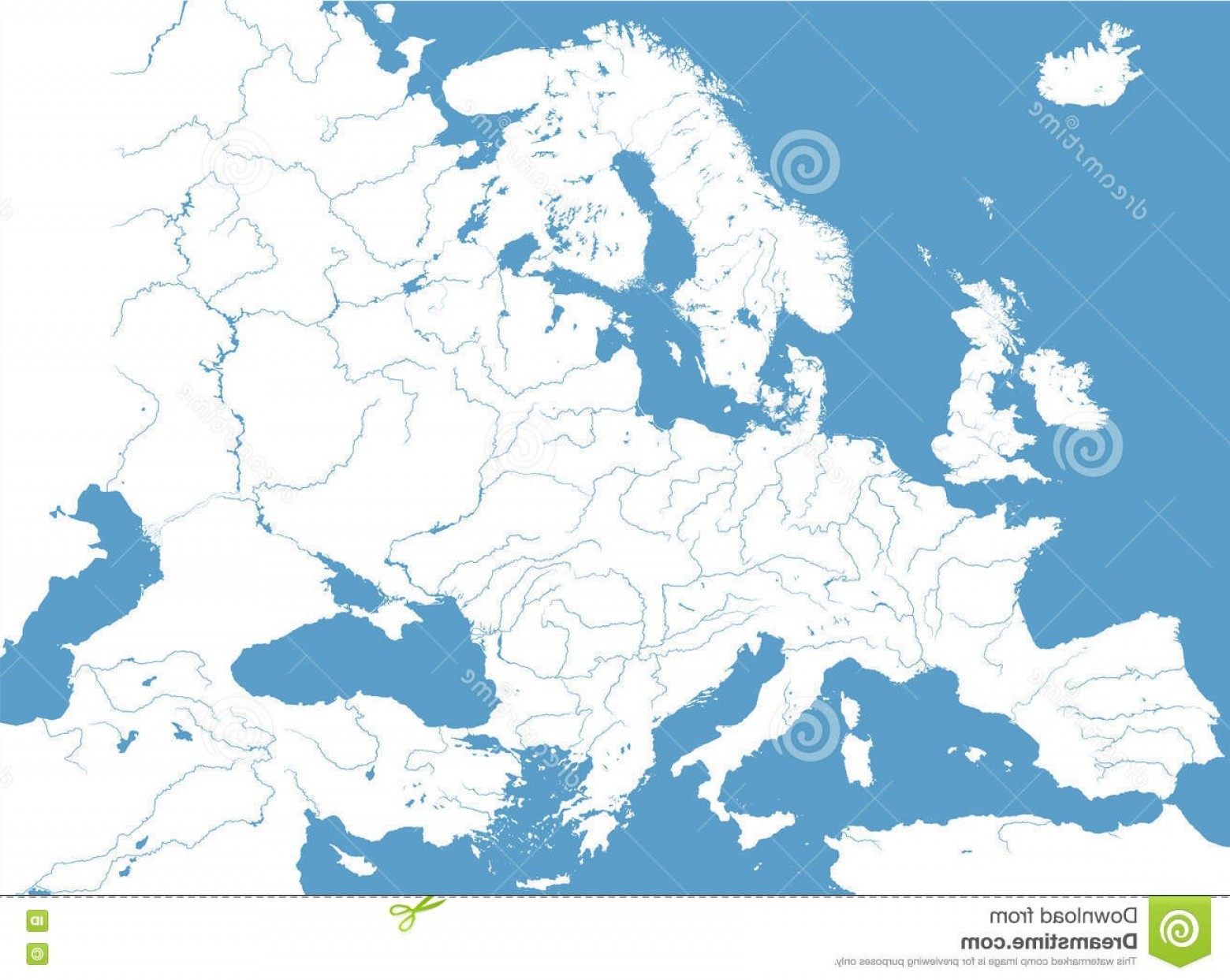 Vector World Map With Rivers: High Detailed Vector Map Europe Main Rivers Of In