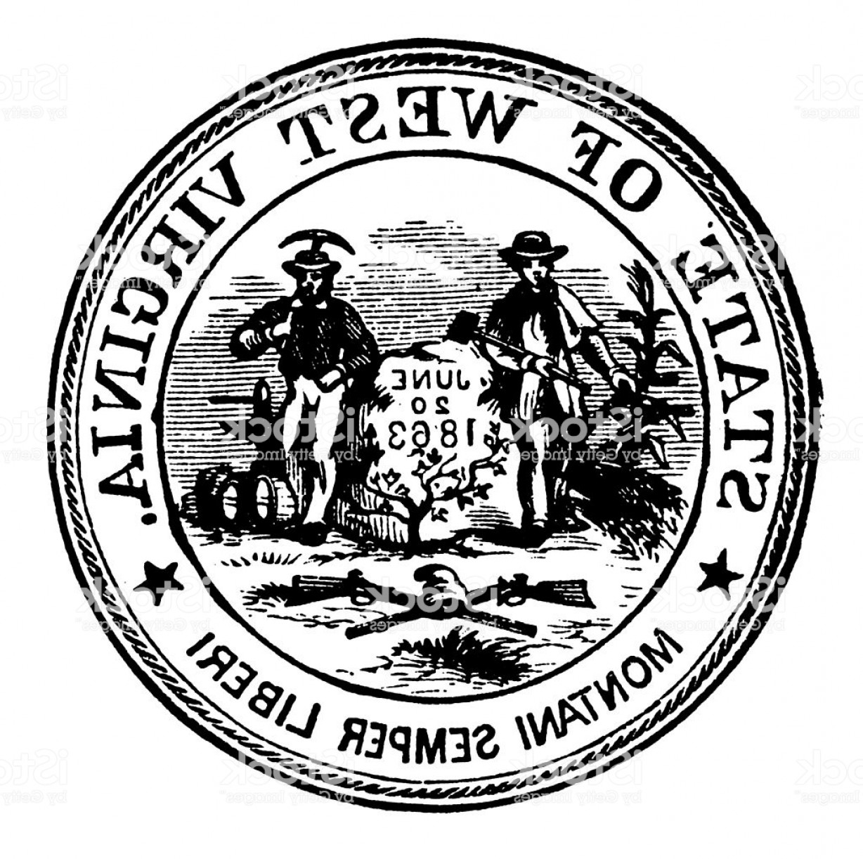 West Virginia Logo Vector: High Resolution Old State Seal Of West Virginia Gm