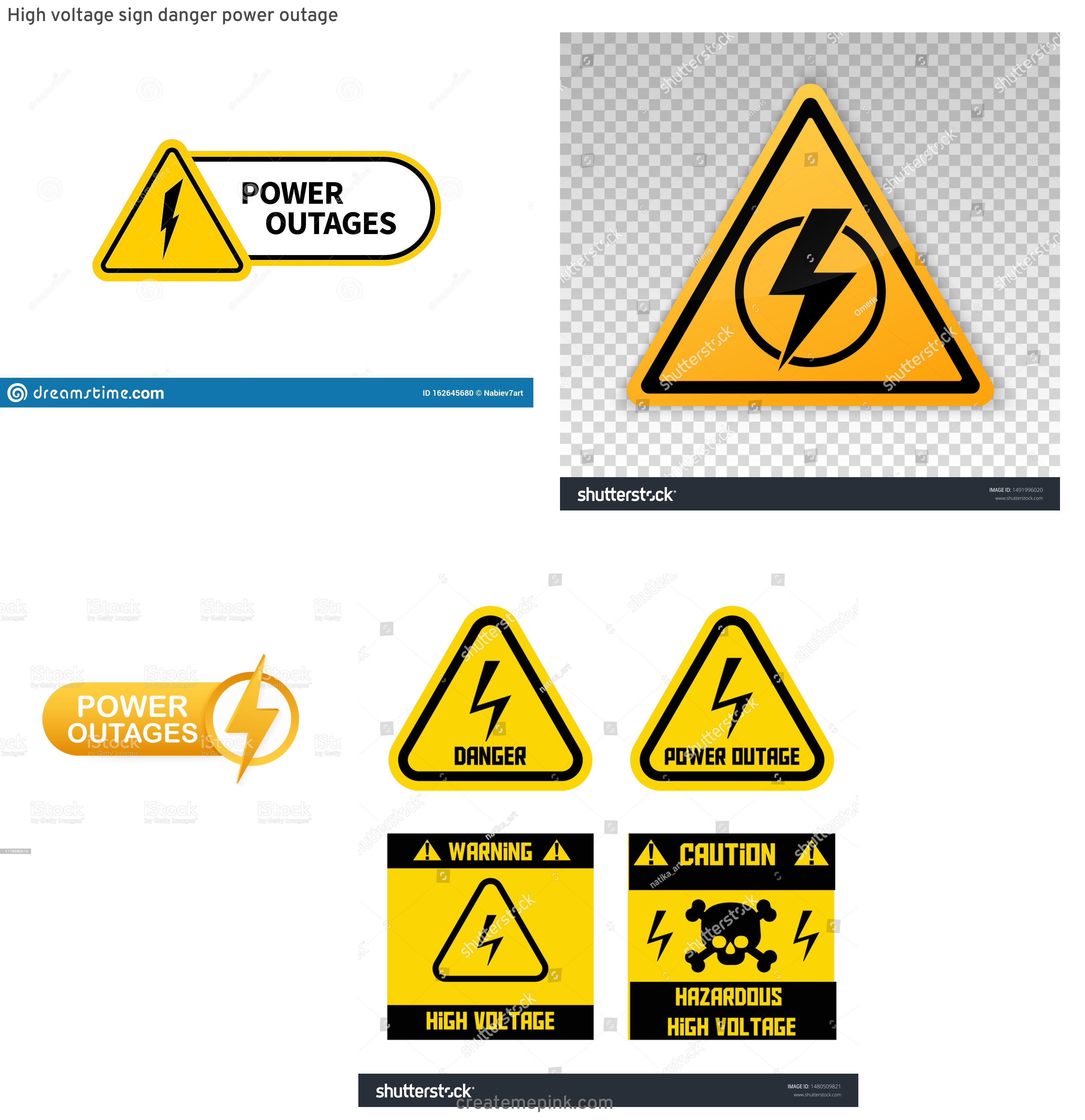 Vector Power Outage: High Voltage Sign Danger Power Outage