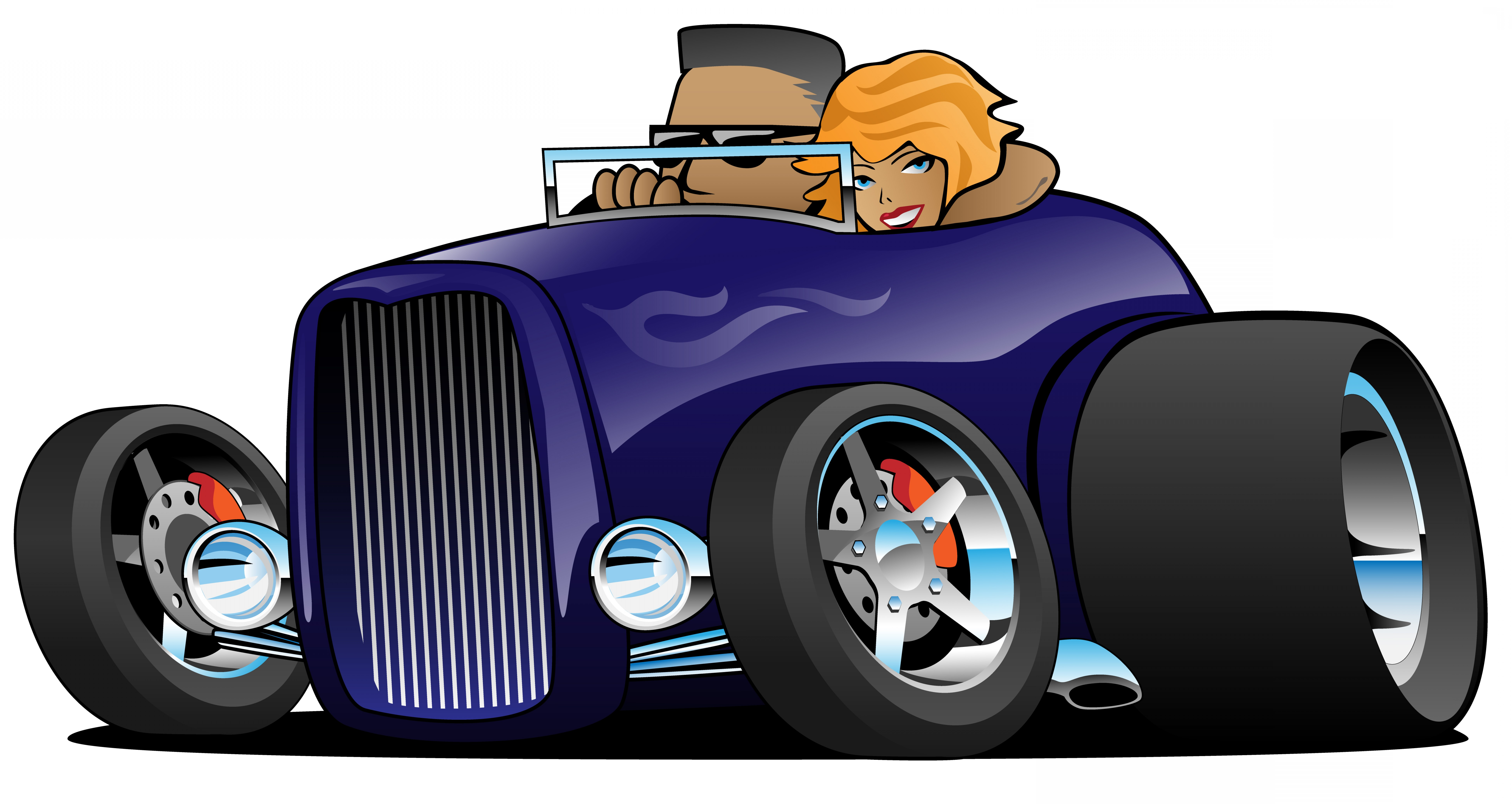 Classic Street Rod Vector Art: Highboy Hot Rod Deep Purple Roadster With Male Driver And Cute Woman Passenger Isolated Vector Illustration