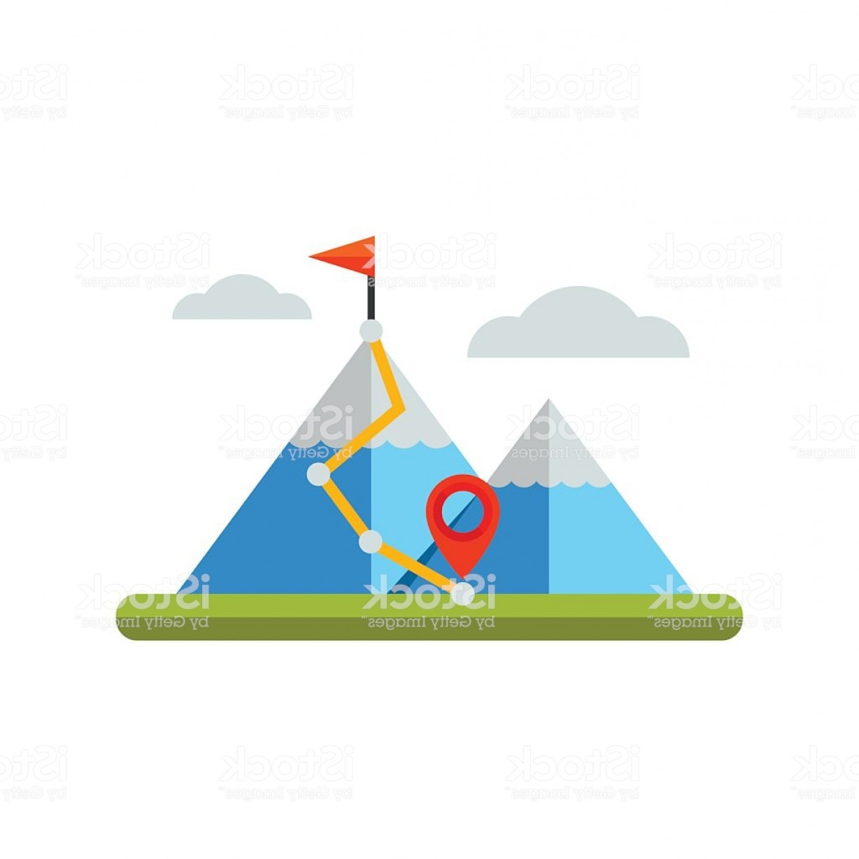 Mountain Trail Vector: Hiking Trail In Mountains Icon Gm