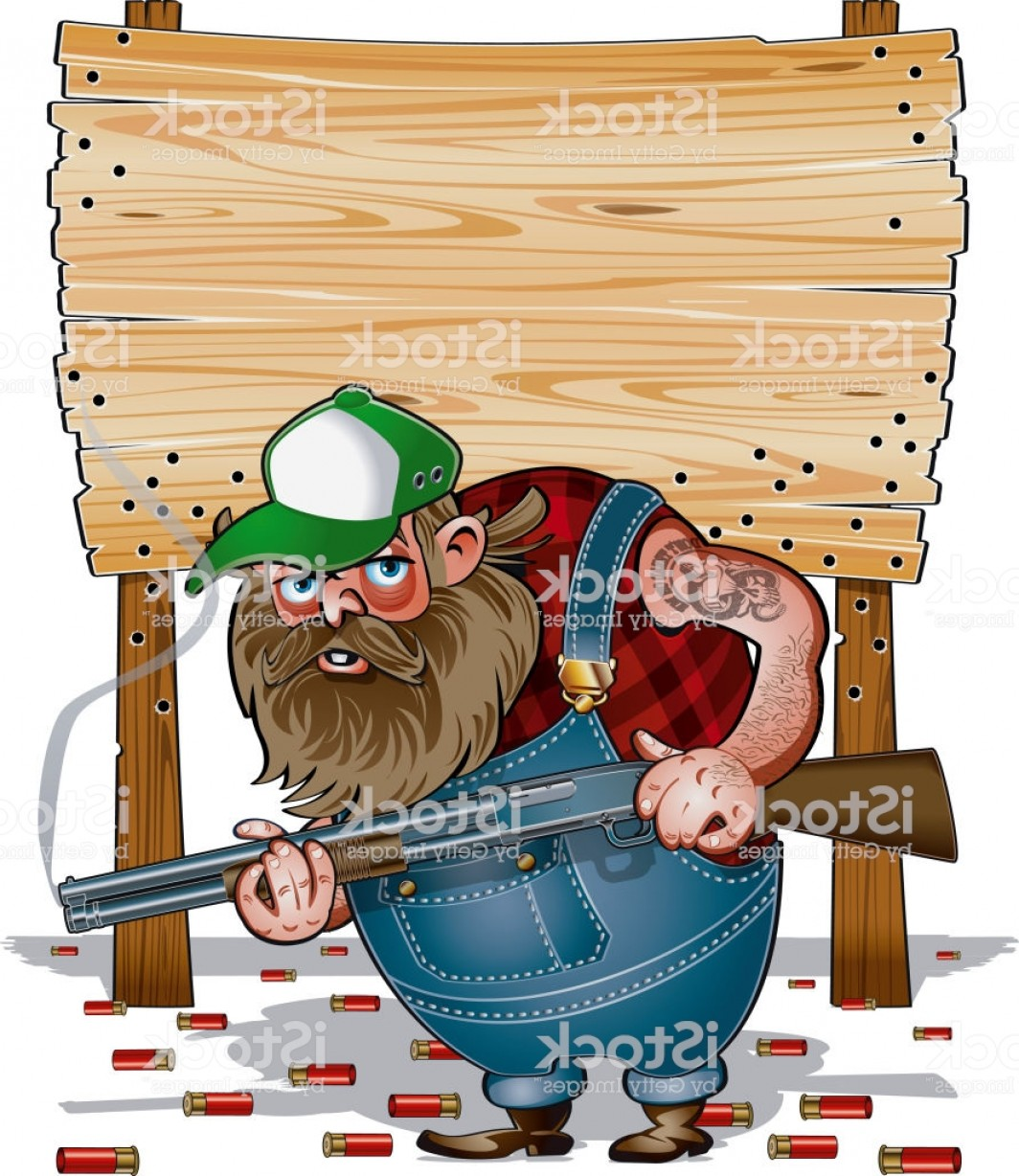 Redneck Family Vector Graphic: Hillbilly With Shotgun In Front Of Wooden Sign Gm