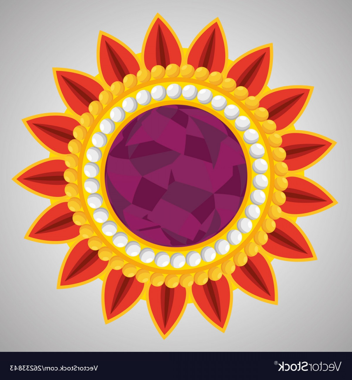 Hindu Flower Vector: Hindu Flower With Petals And Traditional Design Vector