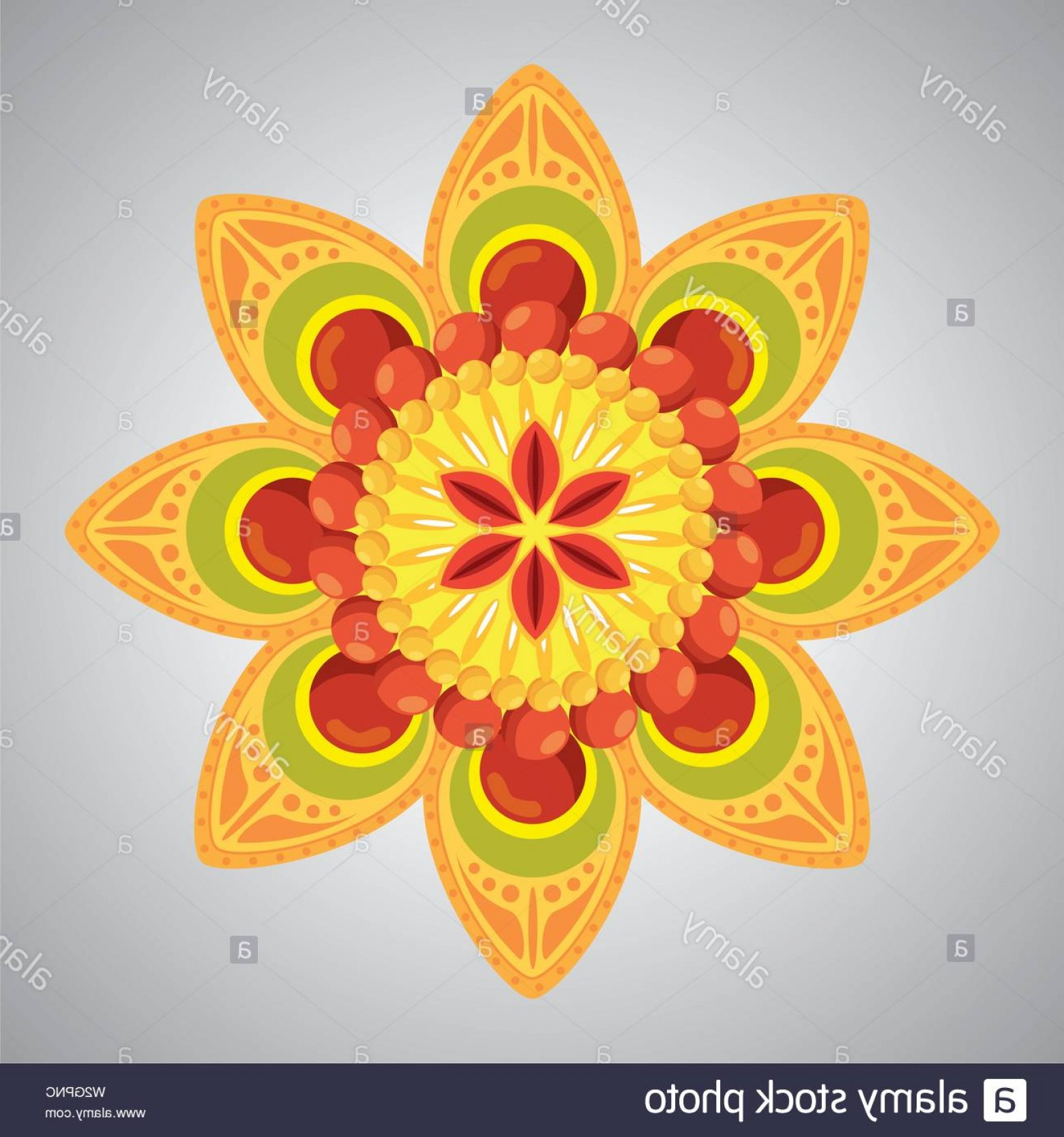 Hindu Flower Vector: Hindu Flower With Petals Decoration Tradition Image