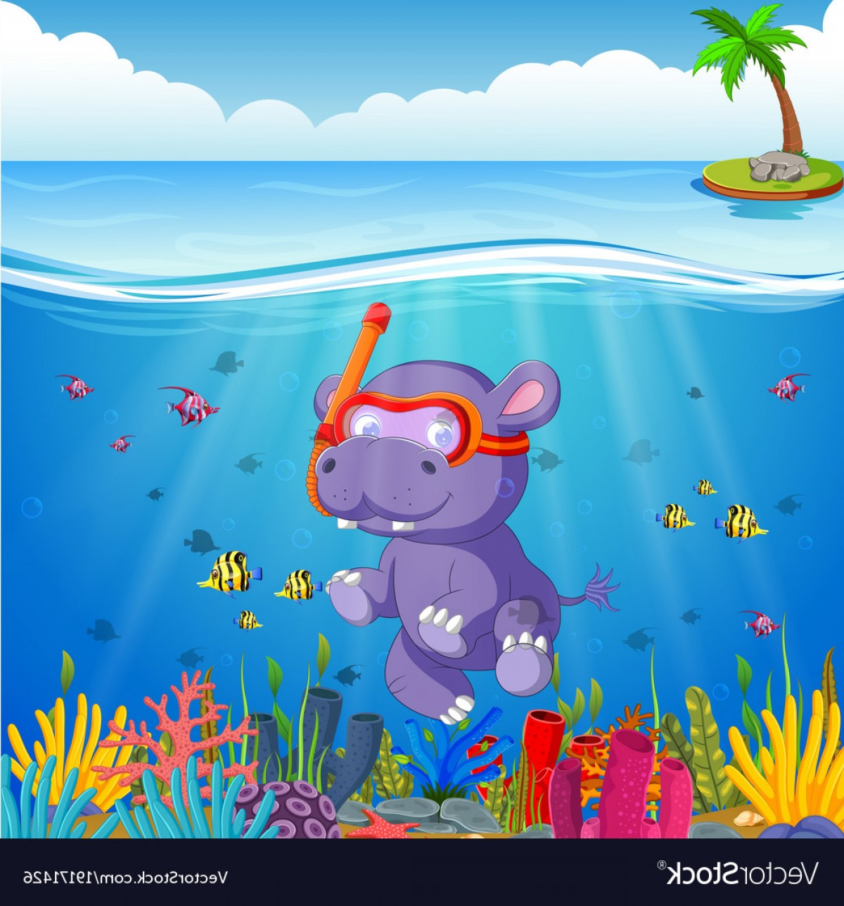 Underwater Sea Vector Art: Hippo Snorkeling In Underwater Sea Vector