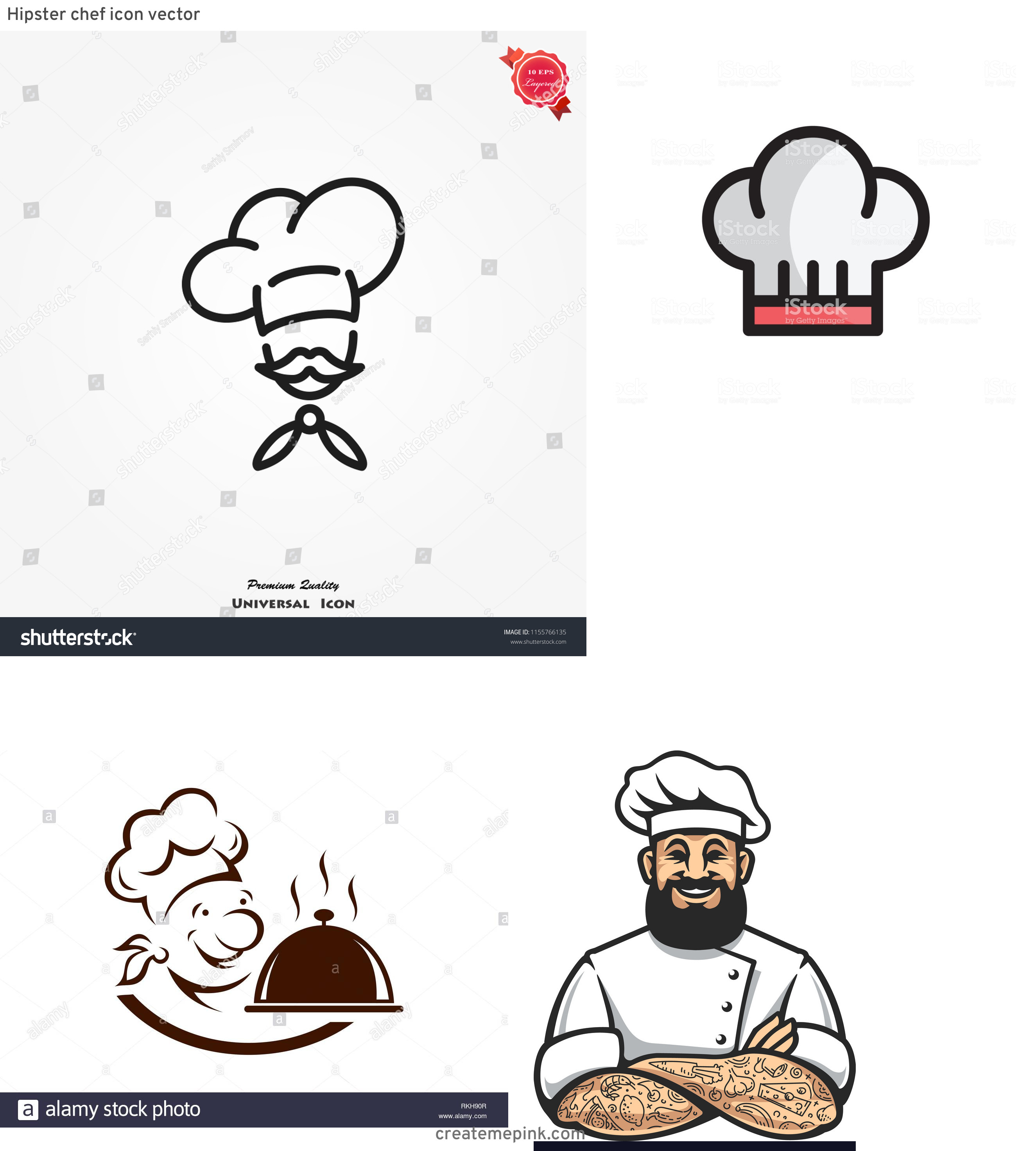 Chef Icon Vector: Hipster Chef Icon Vector