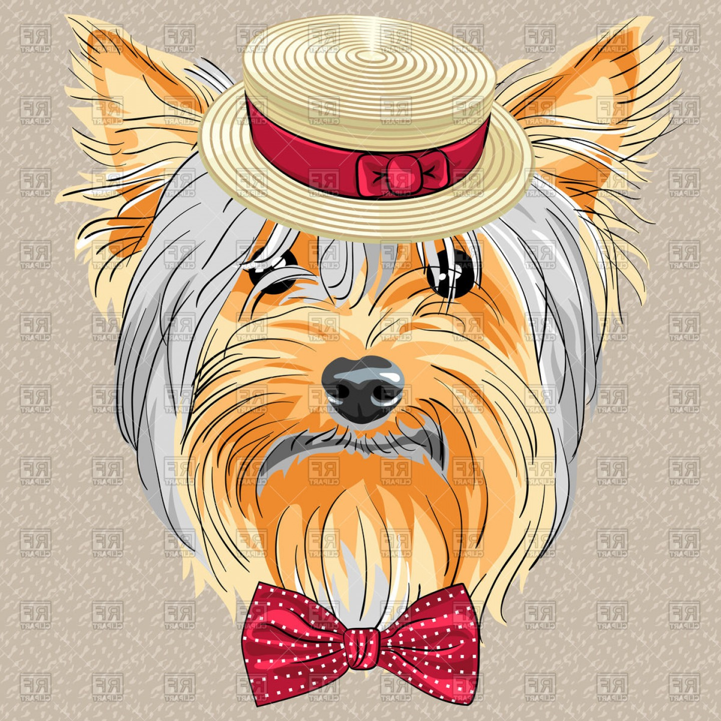 Cute Yorkie Dog Vector: Hipster Dog In A Straw Boater And Bow Tie Yorkshire Terrier Vector Clipart