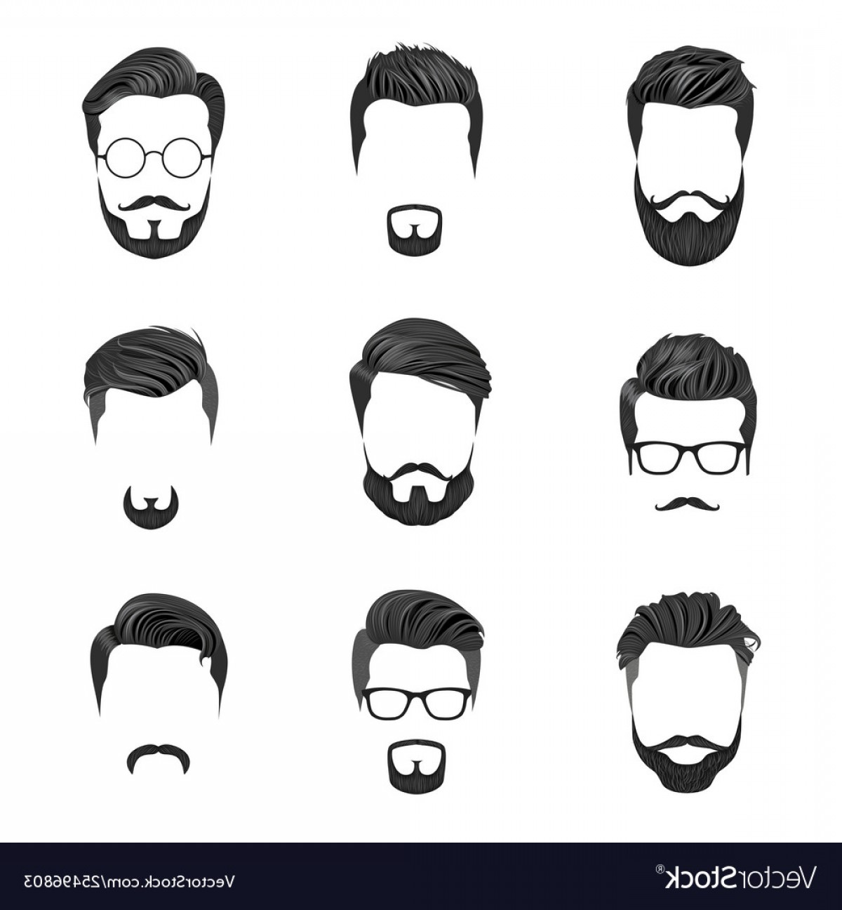 Vector Male Fade Hair: Hipster Hair Mustaches And Beards Hipster Style Vector
