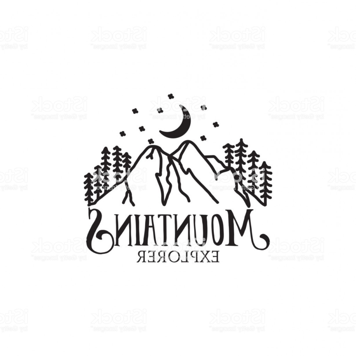 Hipster Logo Vectors Mountain: Hipster Mountain Explorer Illustration Logo Gm