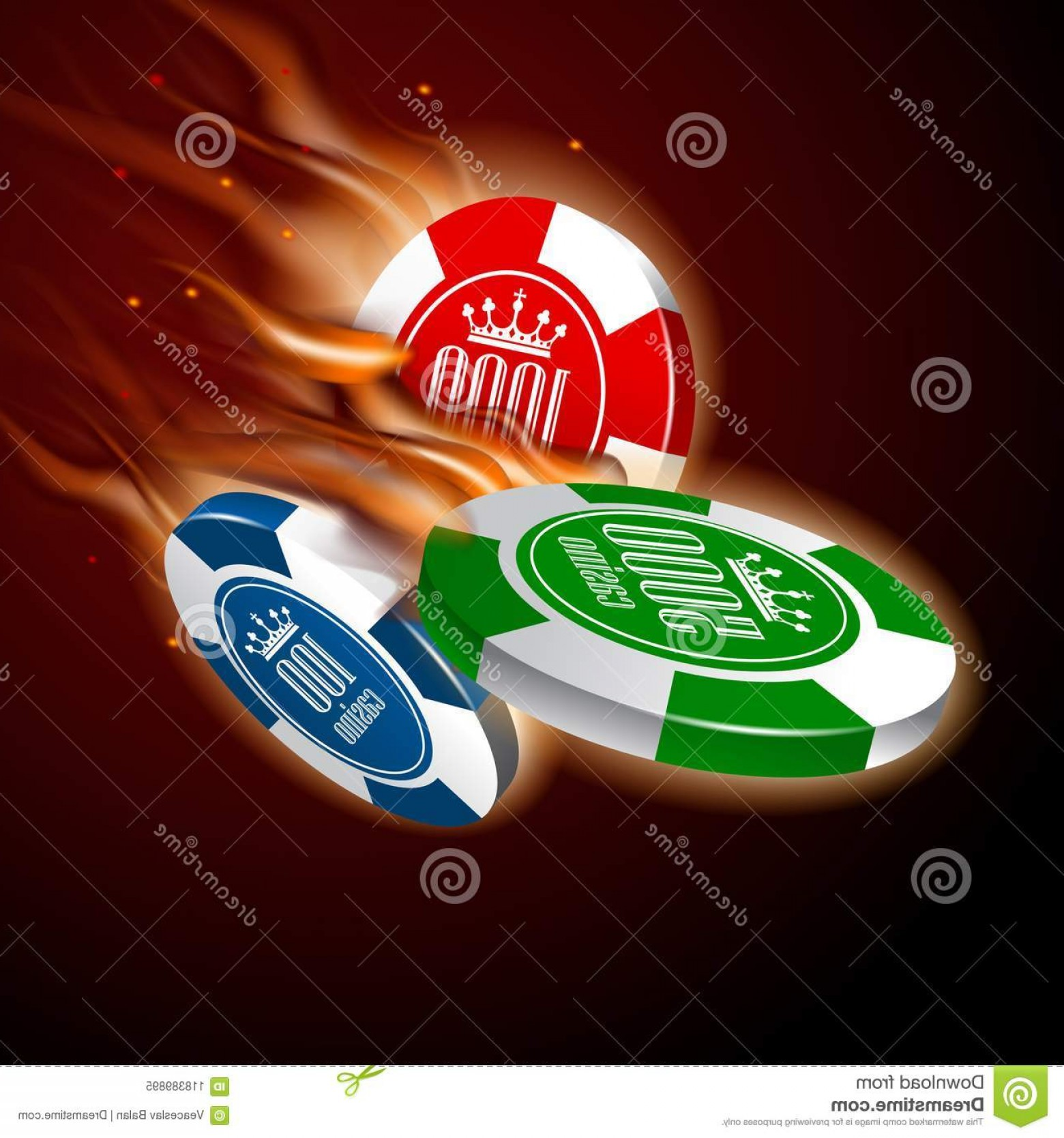 Editable Vector Poker Chips: Hires Vector Eps File Layered Editable Casino Chips Set Flight Flame Dark Background Image