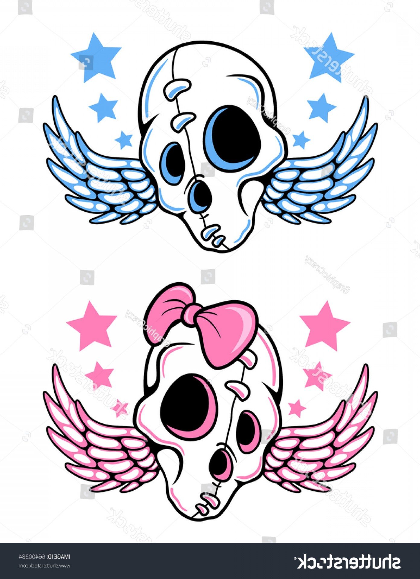 His And Hers Skulls Vector: His Her Pair Tattoo Inspired Skulls
