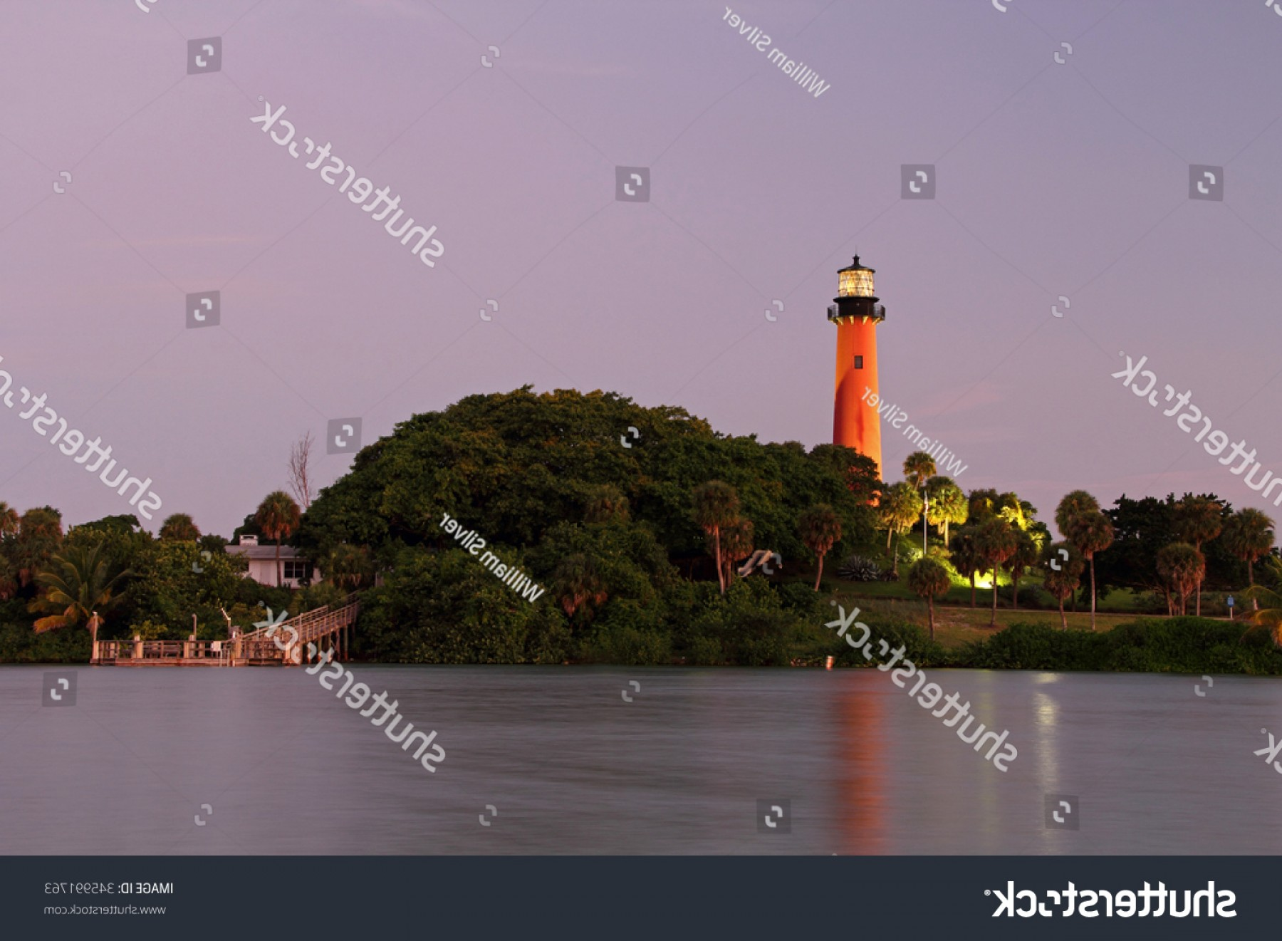 Jupiter Lighthouse Vector: Historic Jupiter Lighthouse Evening South Florida