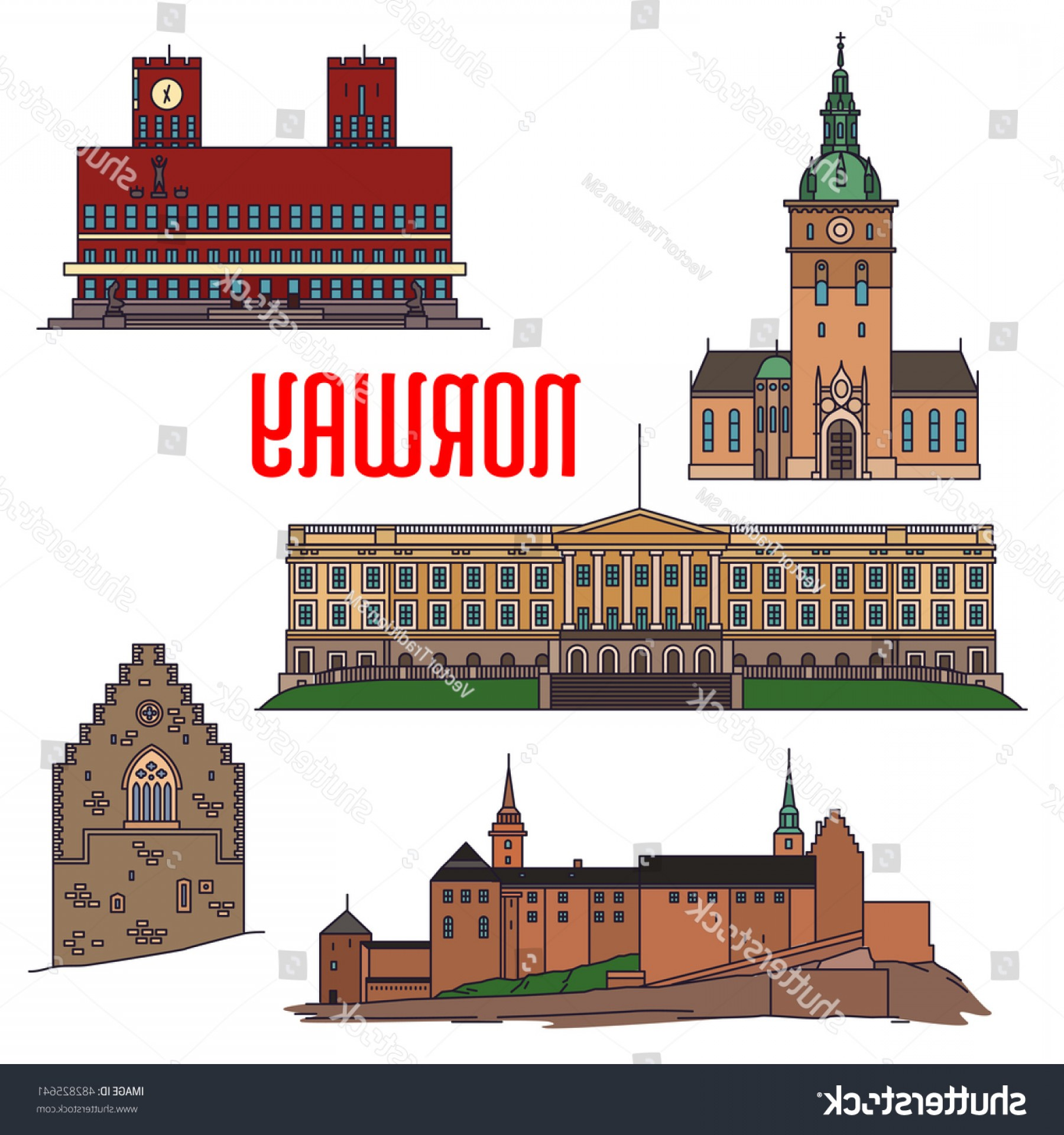 Belgium Theatre Vector Icons: Historic Sightseeings Buildings Norway Vector Icons