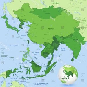 Vector Globe Countries: High Detail Map Far East Asia