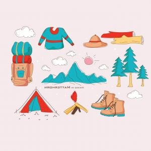 Stylized Vector Hiker: Hiking Equipment In Matterhorn Vector