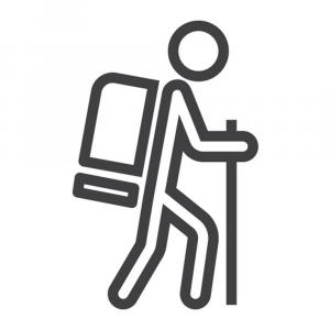 Hiker Vector White: Hiking Line Icon Travel And Tourism Tourist Vector