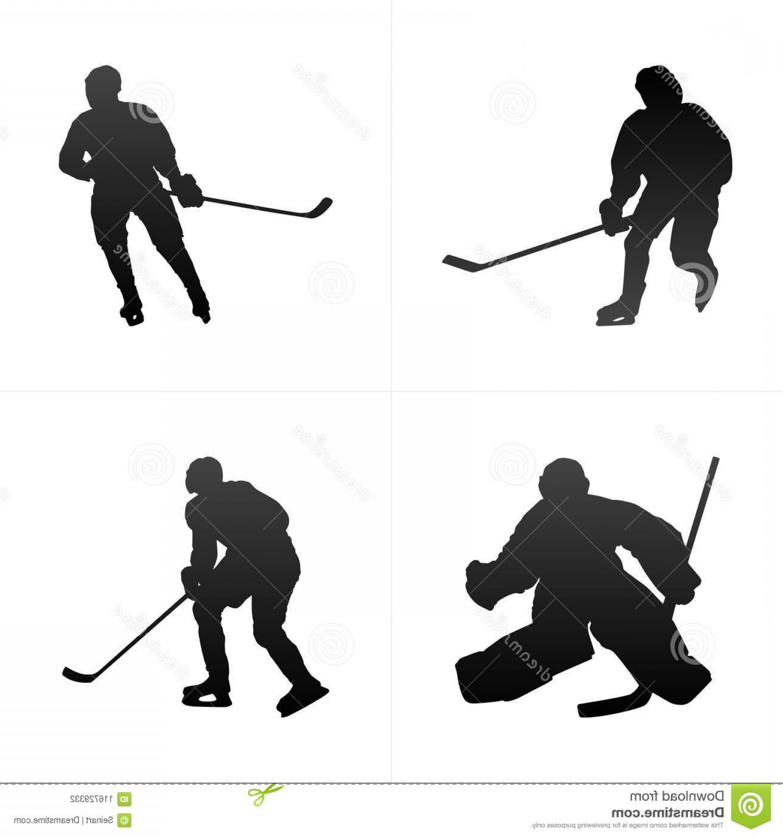 Hockey Player Silhouette Vector: Hockey Player Silhouette Vector Background Set Illustration Image