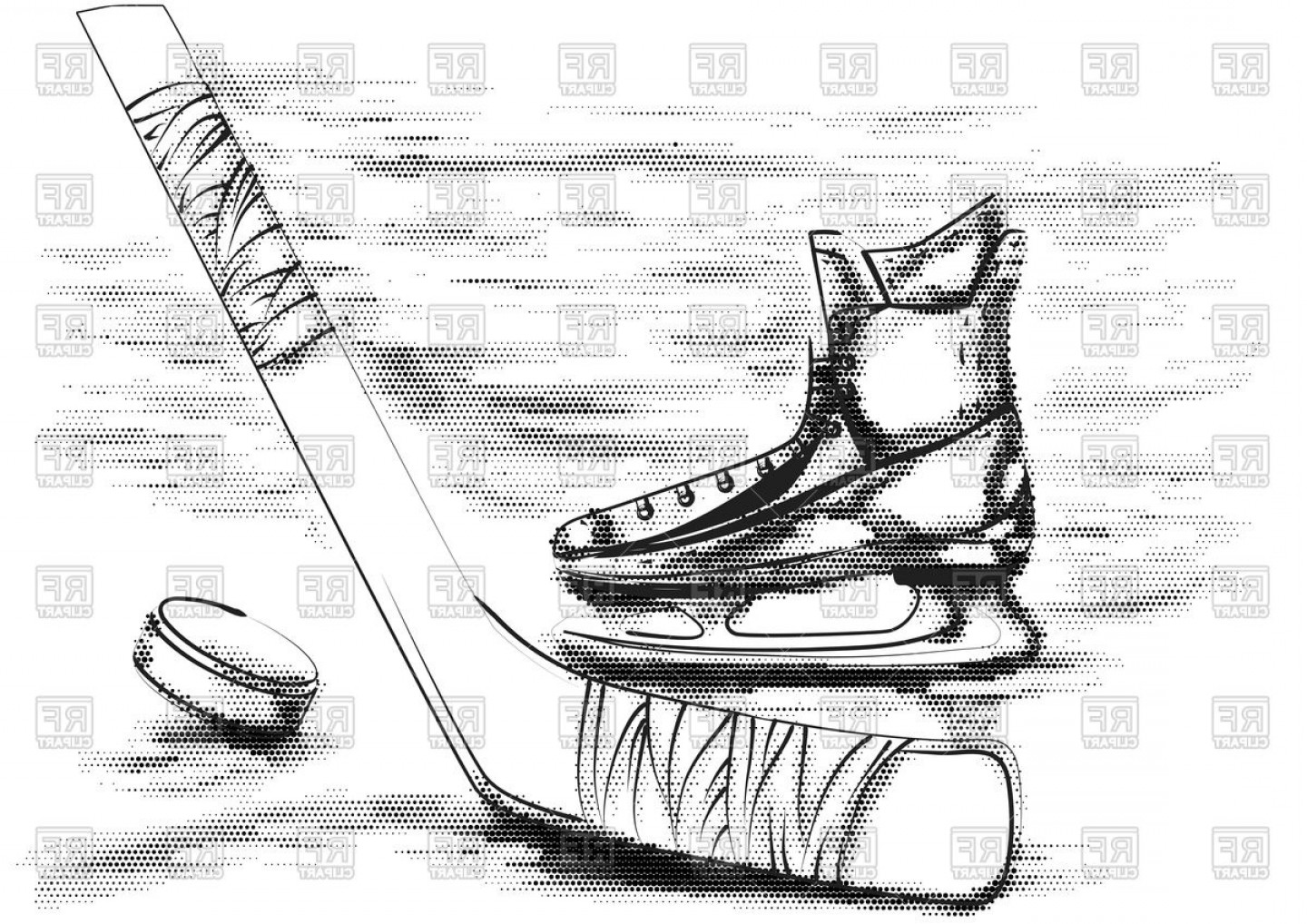 Hockey Skates Vector Art: Hockey Puck Stick And Skate On White Vector Clipart