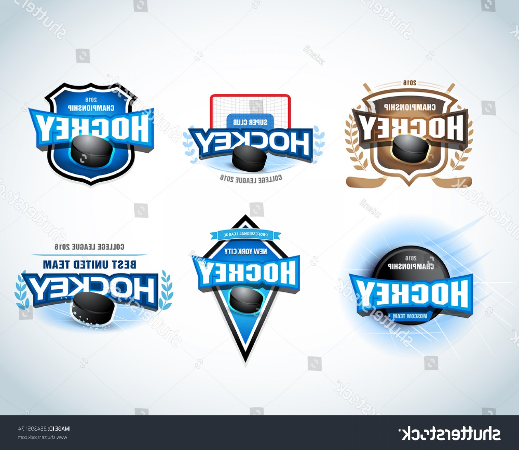 Hockey Teams Logo Vectors: Hockey Sport Team Logotype Templates Set