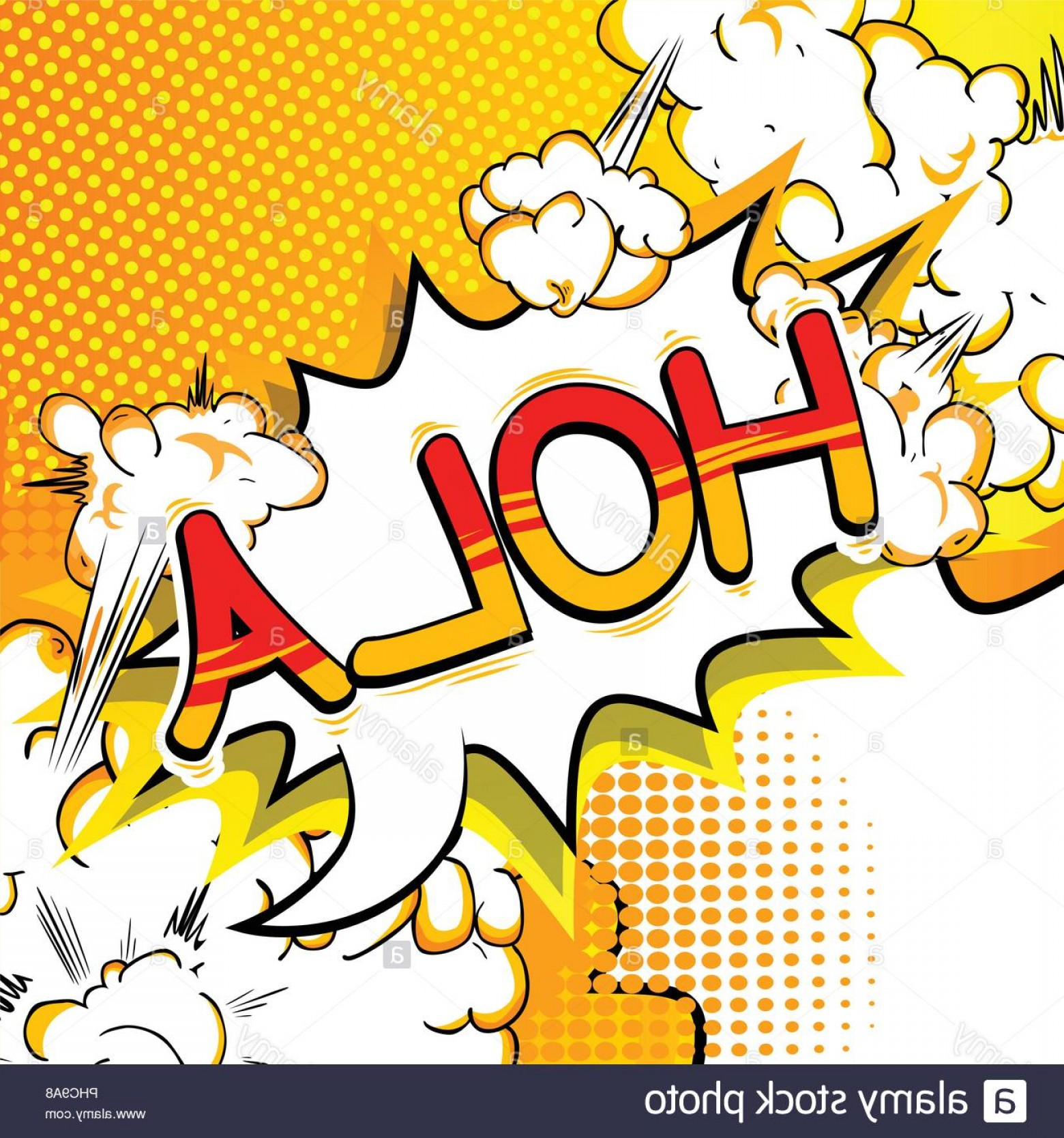 Spanish Vector Art: Hola Hello In Spanish Vector Illustrated Comic Book Style Phrase Image