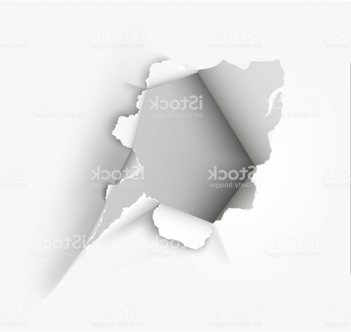 Ripped Black And White Vector: Hole Torn In Ripped Paper On White Background Gm